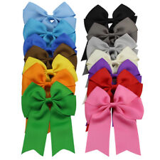 """14x 4"""" Girls Hair Cheer Bows Alligator Clips Mixed 14 Color Boutique Tails Down"""