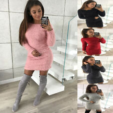 Short Mini Dress Fashion Women Long Sleeve Woollen Evening Party Cocktail