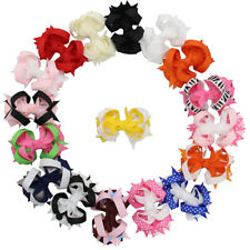 """17pcs 3"""" Boutique Girl Baby Spike Ribbon Hair Bows Alligator Clip Mixed 17 Color"""