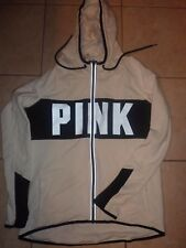 VICTORIAS SECRET PINK TRACK JACKET FUNNELNECK HOODIE RUNNING WORKOUT ZIP NWT