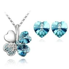 4 Leaf Clover Heart Pendant Necklace Earrings Crystal Jewelry Set