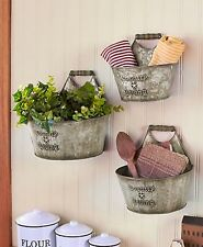 SET OF 3 WALL BUCKETS OR DECORATIVE CANISTER SET COUNTRY KITCHEN DECOR