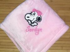 Personalized Snoopy Belle Peanuts Baby Blanket Girl Monogrammed