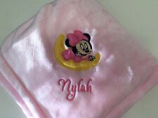 Personalized Minnie Mouse Moon Baby Girl Blanket Monogrammed