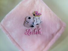 Personalized Snoopy with Butterfly Baby Blanket Girl Monogrammed