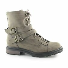 Rocket Dog LACIE Ladies Womens Decorative Buckle Lace Up Combat Boots Brown New