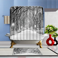 Winter snow city street Shower Curtain Home Bathroom Polyester & 12hooks 71*71in