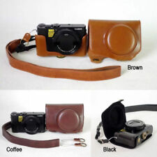 PU Leather Camera Case Cover Bag Pouch For Panasonic Lumix LX10 L-X10 W/ Strap T