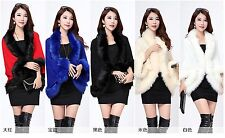 Womens Faux Fur Trim Cape Poncho Ladies Wrap Knitting Cardigan Coat Jacket Shawl