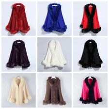 Women Faux Fur Trim Cape Wrap Poncho Ladies Warm Winter Open Shawl Cardigan