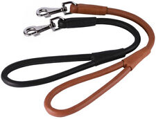 Short Dog Leash Traffic Rolled Leather Lead for Dogs Brown Black