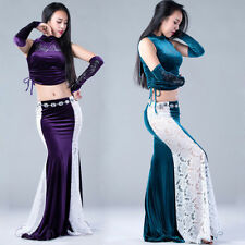 Sexy 2017 New Indian Belly Dance Costumes 3Pcs Top&Lace Skirt & Arm Gloves M L