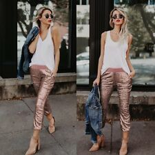 Women Chic Sequins Skinny Pants High Waist Stretch Leggings Slim Pencil Trousers