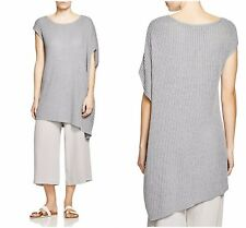 NWT $248 Eileen Fisher Pewter Gray Asymmetric Tunic Sweater Top Delave Rib Linen