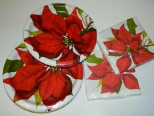 """Poinsettia Xmas Dinner Plates 10"""" Sturdy Party Napkins Flower Red Serves 16 New"""