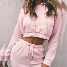 2Pcs Tracksuit & Pants Sets Women Hoodies Sweatshirt  Sport Wear Casual Fitness
