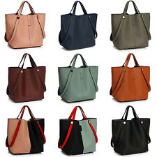 Women Tote Shoulder Bag Ladies Handbag Faux Leather Twin Handles Shopper bag UK