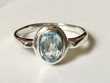 925 Sterling Silver Faceted Gemstone Ring Blue Topaz Stack Stackable Size 6 7 9