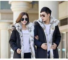 Fur Hooded Chic Men's Duck Down Fleece Jacket Winter Snow Coat Parka Outerwear