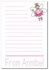 nc Personalised NOTELETS writing paper FAIRY TRACE NAME learn write tracing note