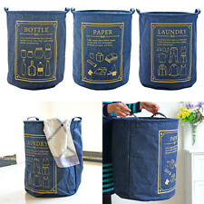 Eco-friendly Reusable Denim Storage Basket Laundry Hamper Livbing/Dining/Kitchen