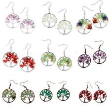 Charm Copper Wire Wrap Gemstone Crystal Quartz Beads Tree Of Life Hook Earrings