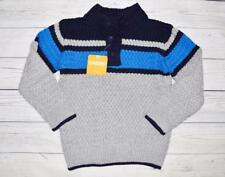 NEW Toddler Boys 3T 4T GYMBOREE Knit Sweater 1/4 Button Blue Gray Stripe