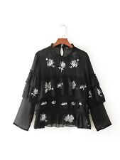 New Womens Vintage Floral Embroidery Ruffled Black Long Sleeve Shirt Tops Blouse
