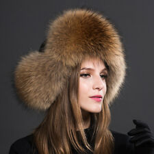 Womens Ladies Real Fox Fur Hat Russian Ushanka Lamb Leather Top Warm Winter k7