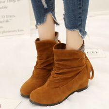 Womens Slouch Faux Suede Pull On Ankle Boots Hidden Wedge Heels Sweet Shoes New
