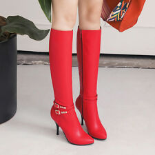 Women Stiletto High Heel Knee High Boots Zip Buckle Strap Pointed Toe Shoes