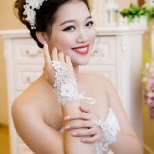 Lace Wedding Gloves with Beaded Bridal Gloves Tie Fingerless Wedding Accessories