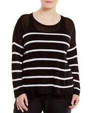NWT Eileen Fisher 1x Blk/Wht Bateau Neck Organic Linen Crepe Stripe Sweater