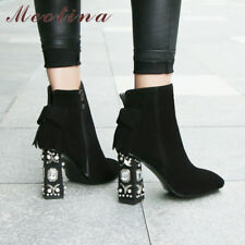 Women Genuine Leather Crystal Block High Heel Ankle Boots Bow Zip Suede Shoes