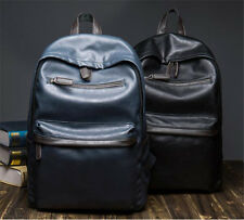 Retro Men's Vintage faux Leather Solid Casual Travel Backpack Travel laptop bag