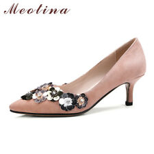 Genuine Leather Suede Women Party Shoes Kitten Heels Bling Pointed Toe Pumps