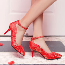 Embroider Stiletto High Heels Ankle Strap Pointed Toe Wedding Shoes Women Red