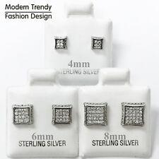 Modern Square Princess Cut Micro Pave CZ Stud 925 Sterling Silver Post Earrings