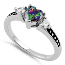 Heart Rainbow Topaz & CZ Ring, Real Sterling Silver 925 Stamped/Rhodium