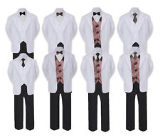 5-7pc Formal Black & White Suit Set Brown Bow Necktie Vest Boy Baby Sm-20 Teen