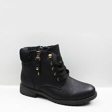 WOMENS LADIES CASUAL LACE UP LOW BLOCK HEEL ANKLE BOOTS BOOTIES SHOES SIZE 3-8