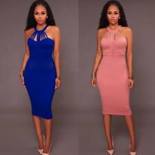 Sexy Strappy Halter Sheath Cocktail Party Bodycon Mid-Calf Dress Party Prom Gown