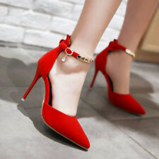 Women Stiletto High Heels Party Shoes Ankle Strap Buckle Pointed Toe Pumps