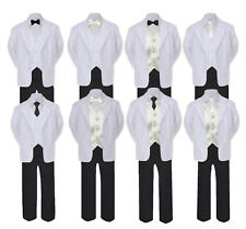 5-7pc Formal Black White Suit Set Ivory Bow Necktie Vest Boy Baby Sm-20 Teen