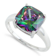 Rainbow Topaz CZ Ring, Cushion Cut, Real Sterling Silver 925 Stamped/Rhodium