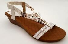 WOMENS Auyi Comfy Mid Wedge Heels ANKLE T STRAP SANDALS Bead BLING Heart SHOES
