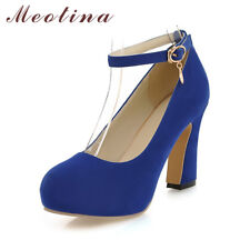 Women Platform High Heels Shoes Round Toe Ankle Strap Buckle Pumps