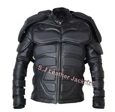 Men's Motorcycle Batman Padded Real Leather Jacket - CE Armor Protection