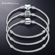 ANFASNI New Fashion Love Snake Chain Silver Color Fit Original Charm Bracelet