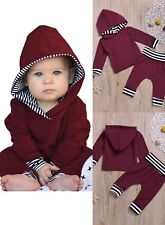 Toddler Kid Stripe Pullover Hoodie Coat Shirt Pants Clothes Outfits Set Burgandy